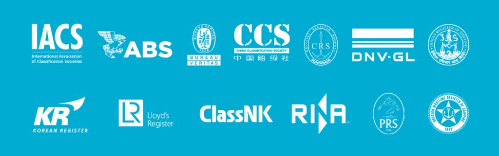 International Association of Classifications Societies, ABS, Bureau Veritas, China Classification Society, CRS, DNV GL, Indian Registrer of Shipping, Korean Register, Lloyd's Register, ClassNK, Rina, PRS, Russian Maritime Register of Shipping