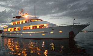 vessel on sea at night